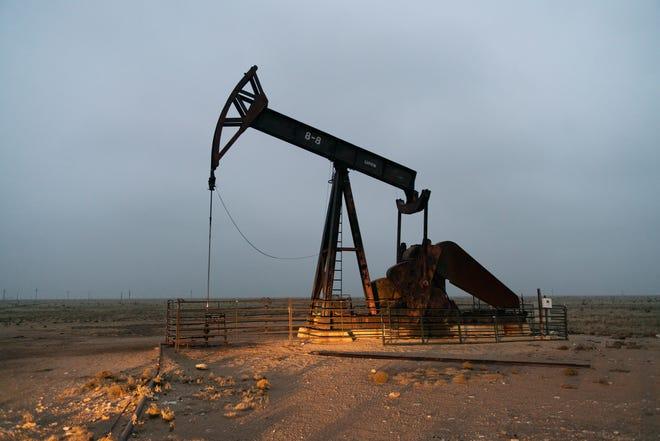 Pump jacks near Lovington, New Mexico.