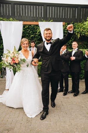 Tyler Chase Norwood and Kathleen Norwood celebrate their wedding day on April 21, 2018. Tyler died in a tragic duck hunting accident on the Mississippi River on Nov. 10, and his body was finally recovered Dec. 14. He'll be laid to rest in Pensacola this weekend.