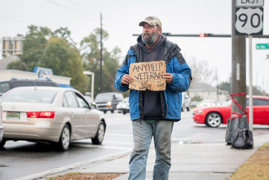 Homeless Navy veteran J.W. Matthews looks for donations at the corner of Cervantes Street and 9th Avenue in Pensacola on Thursday, December 20, 2018.