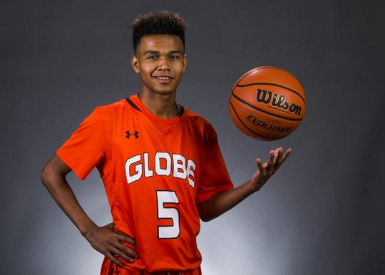 """Robert """"BJ"""" Burries of Globe High School is a small schools boys basketball athlete of the year finalist for 2017."""