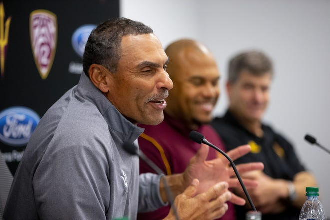 ASU head football coach Herm Edwards talks about the 2019 recruiting class during a news conference on December 19, 2018.