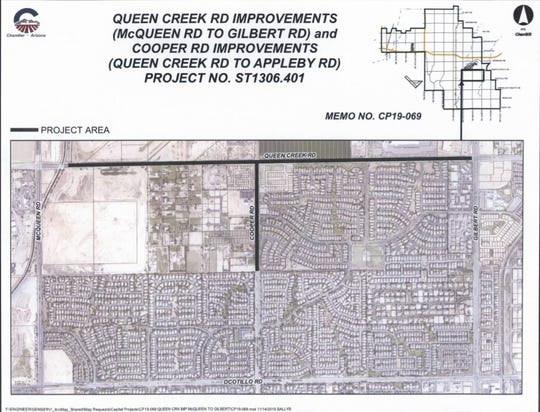 Queen Creek Road will be expanded from two to three lanes in each direction from McQueen to Gilbert roads.