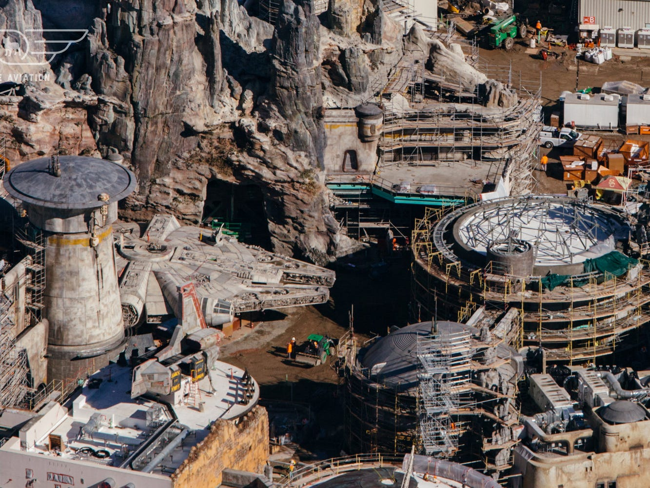 The Millennium Falcon appears ready for launch as seen in this Dec. 7, 2018 aerial photo of Star Wars: Galaxy's Edge.