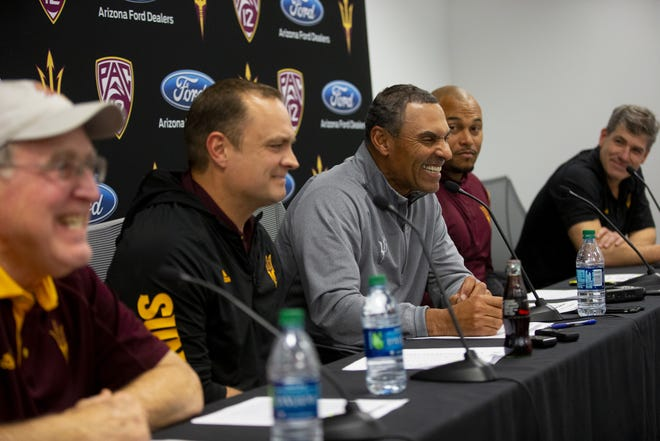 ASU director of player personnel Al Luginbill, defensive coordinator Danny Gonzales, head football coach Herm Edwards, linebackers coach Antonio Pierce, offensive coordinator Rob Likens talk about the 2019 recruiting class during a news conference on December 19, 2018.
