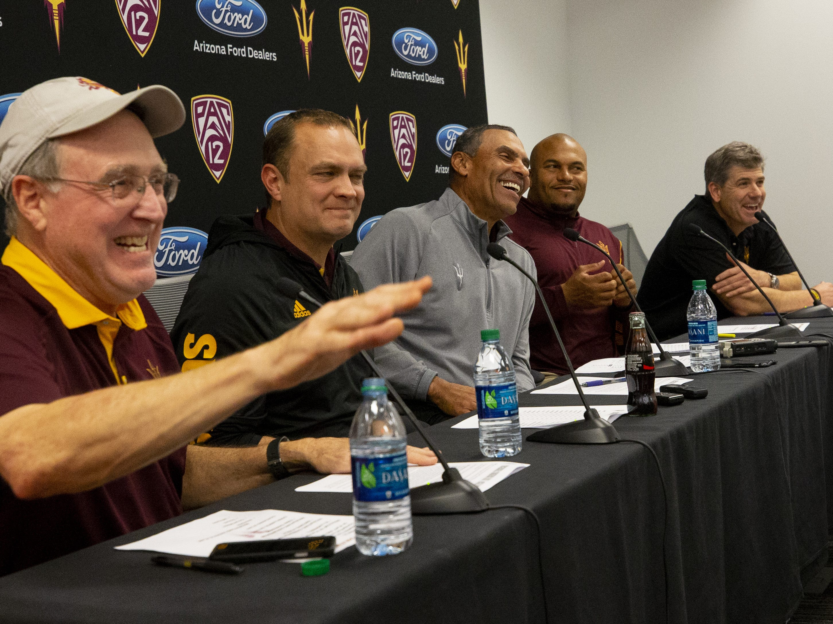 ASU director of player personnel Al Luginbill, defensive coordinator Danny Gonzales, head football coach Herm Edwards, linebackers coach Antonio Pierce, offensive coordinator Rob Likens talk about the 2019 recruiting class during a press conference on December 19, 2018.