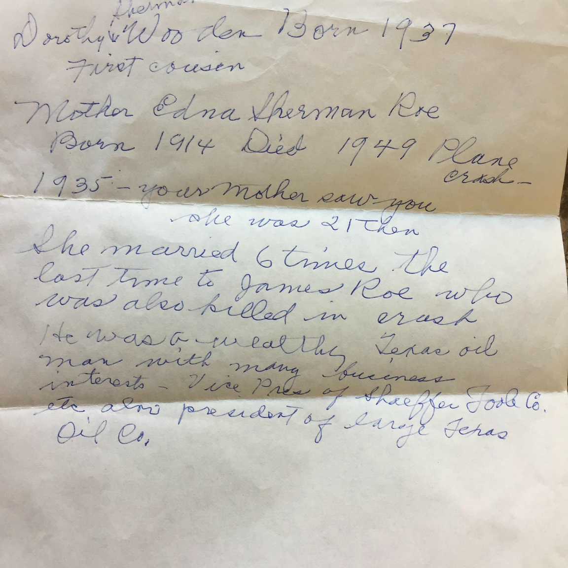 In 2011, reporter John D'Anna found this note in an envelope tucked among Sharon Elliott's trove of Hatbox Baby records. Sharon says the note is in her adoptive mother Faith Morrow's handwriting.