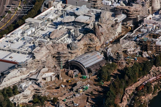 Much of the rock-work is completed for Star Wars: Galaxy's Edge, opening summer 2019 in Disneyland and fall 2019 at Disney World.
