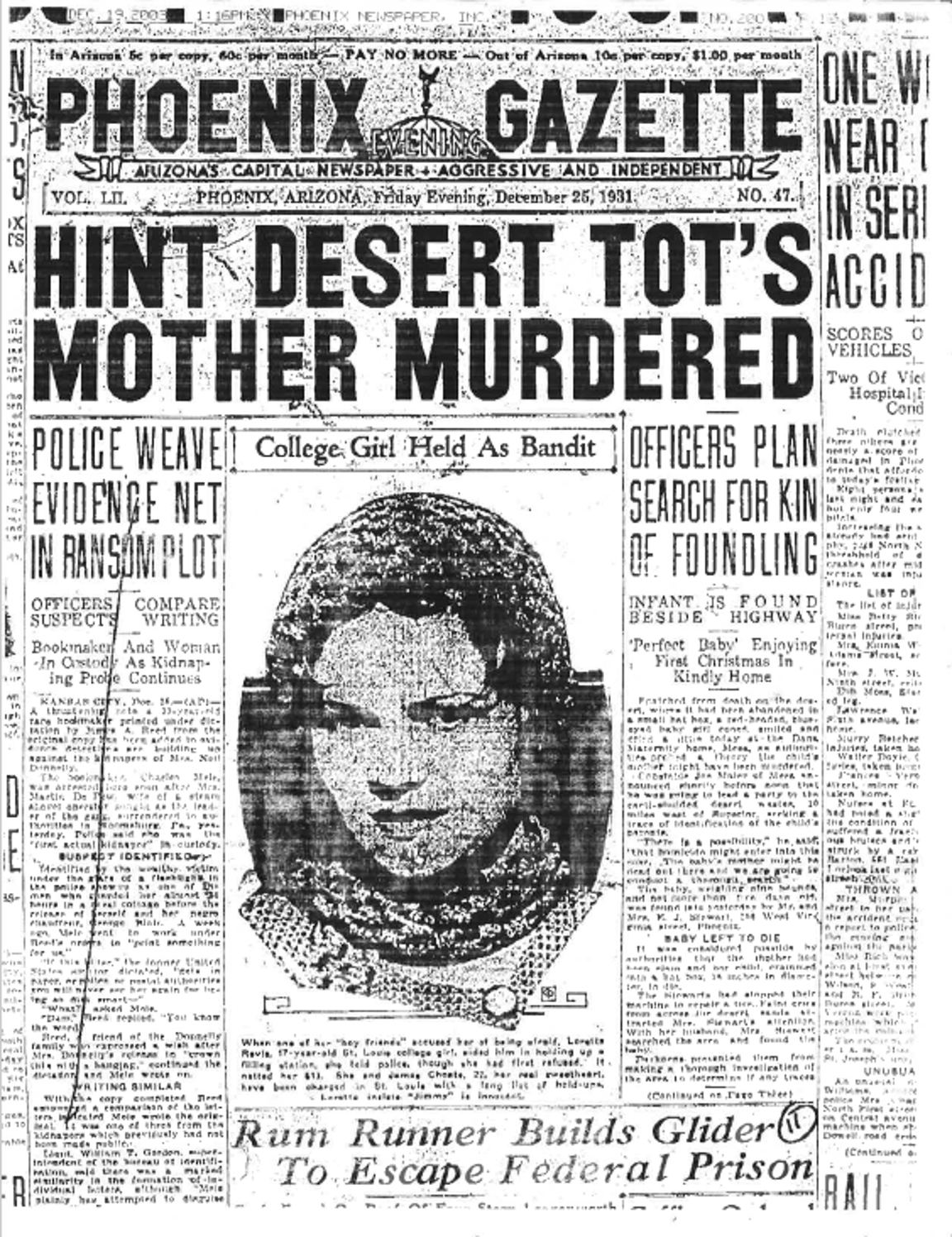The front page of the Phoenix Gazette on Dec. 25, 1931, pointed to a hint that the Hatbox Baby's mother may have been a murder victim. It was a working theory at the time.