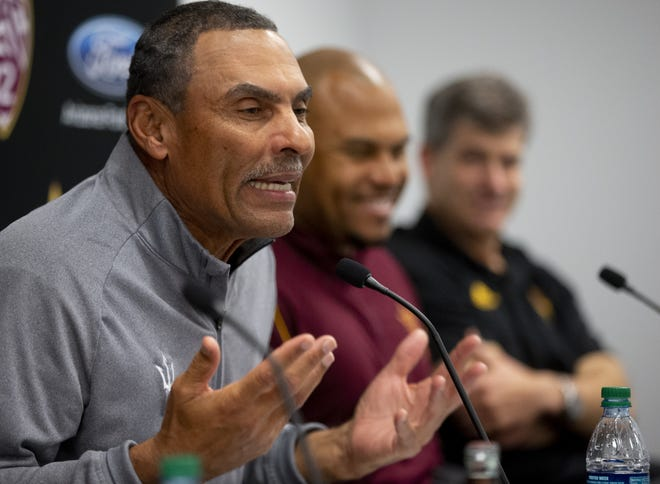 ASU head football coach Herm Edwards speaks during a news conference about the players signing in the 2019 recruiting class.