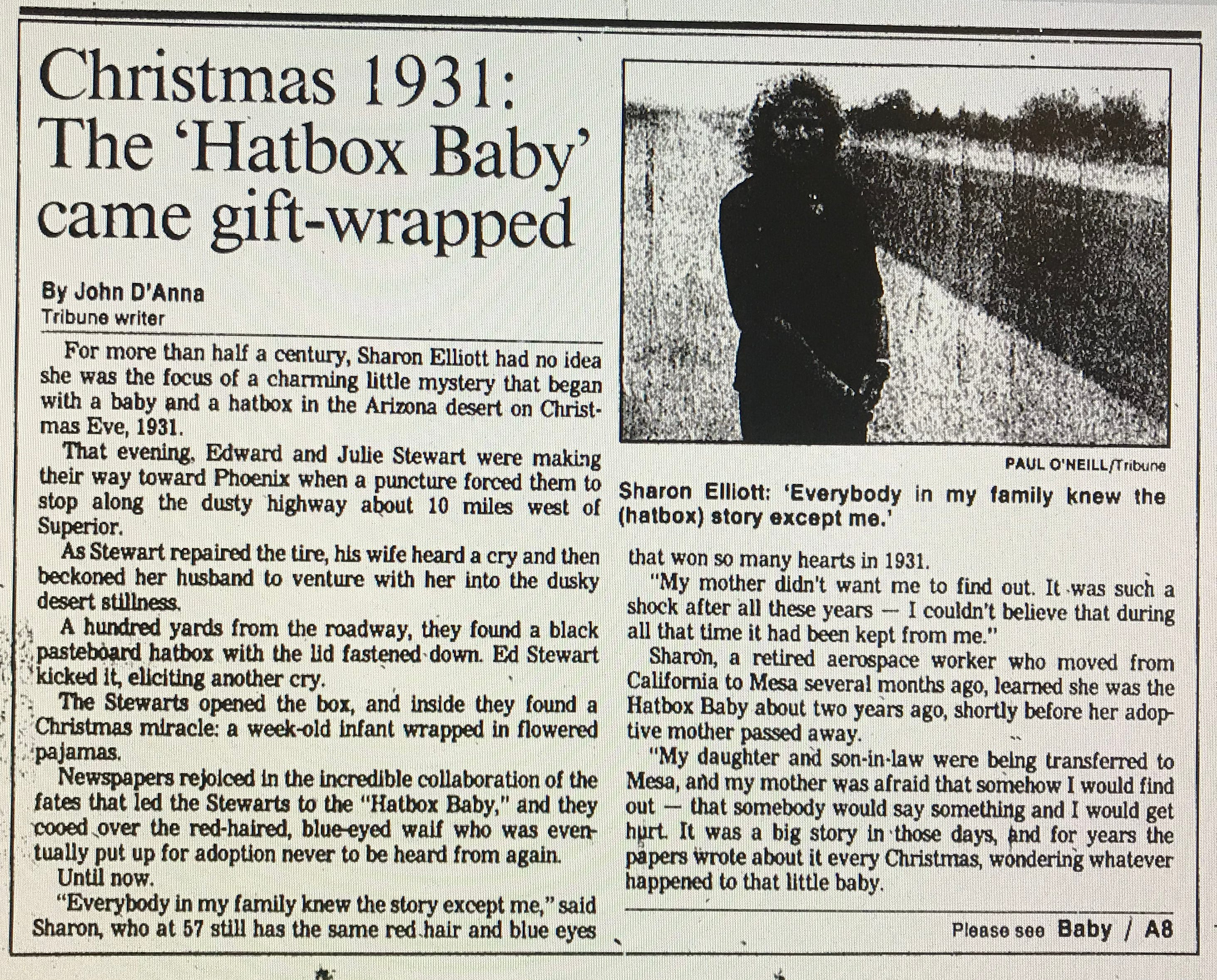 John D'Anna's first story on the Hatbox Baby featured on the front page of the Mesa Tribune's Dec. 25, 1988, edition.