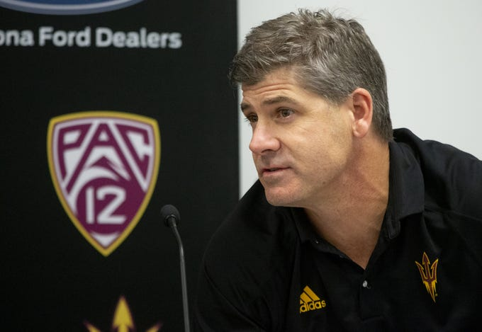 ASU offensive coordinator Rob Likens talks about the 2019 recruiting class during a news conference on December 19, 2018.