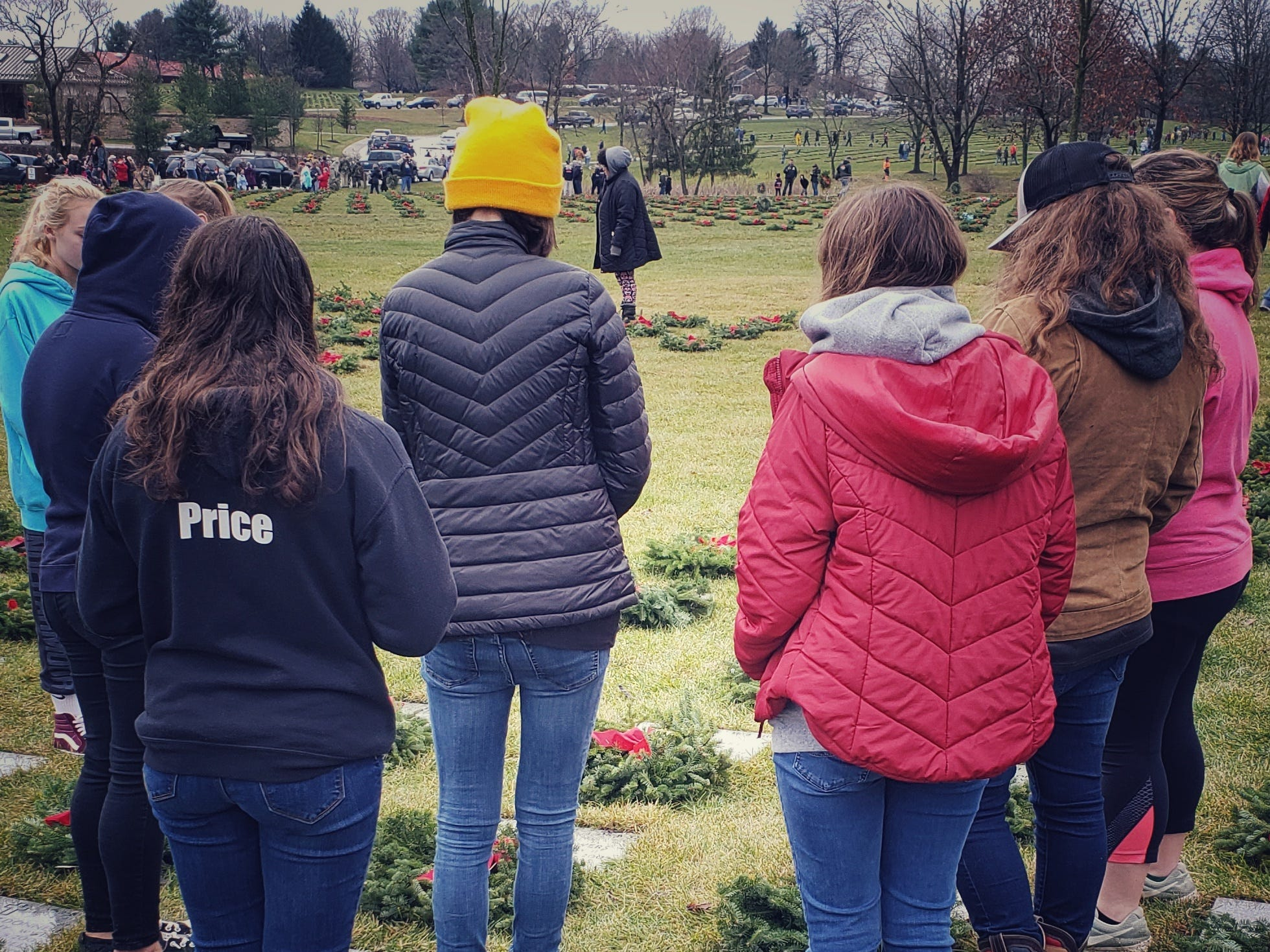 The Palmyra softball team was joined by the school's baseball, football, boys soccer and boys lacrosse teams in taking part in the Wreaths Across America ceremony on Dec. 15 at Indiantown Gap National Cemetary.