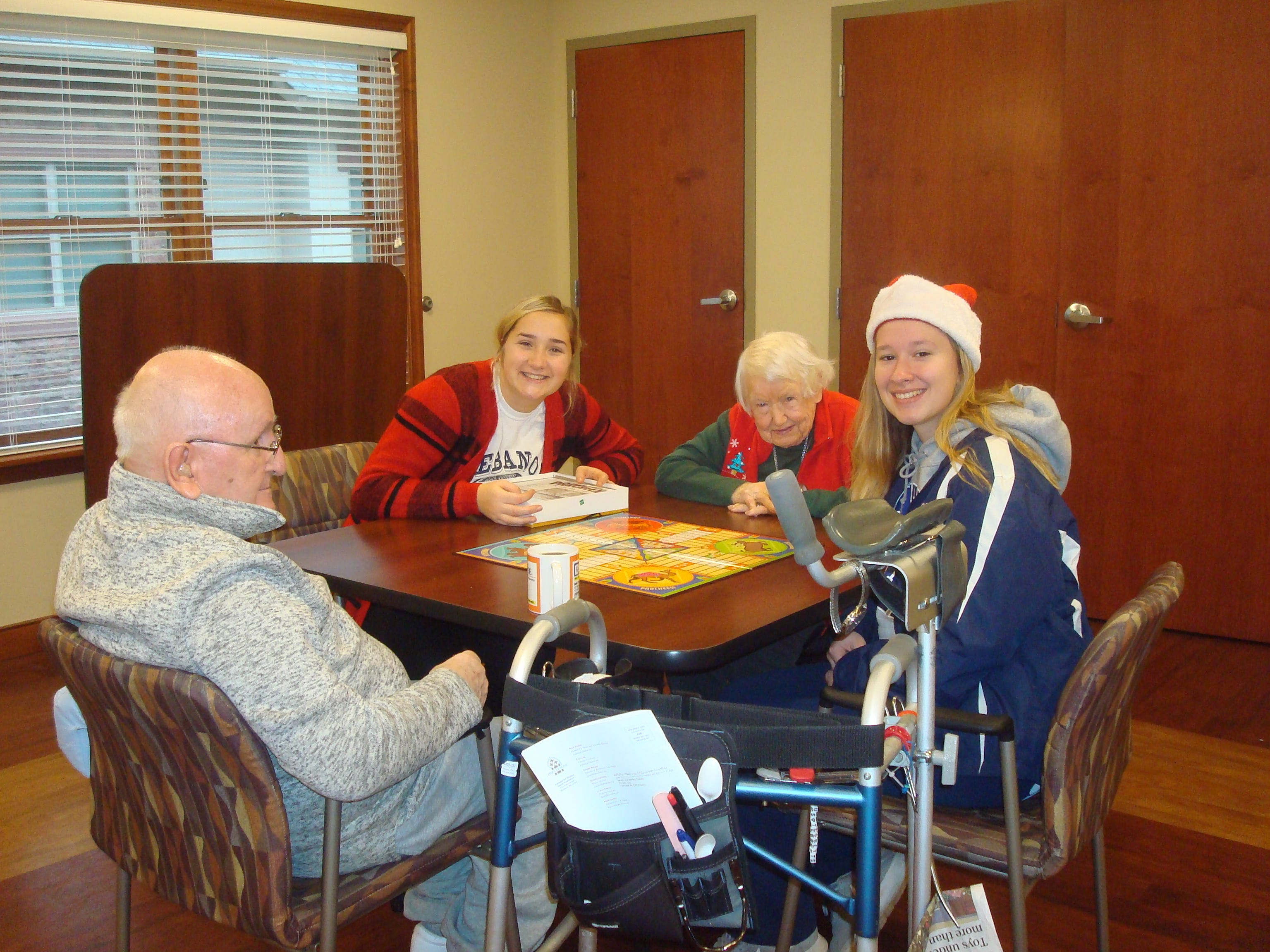 The Lebanon Catholic girls basketball team enjoyed a holiday visit at Cornwall Manor recently.