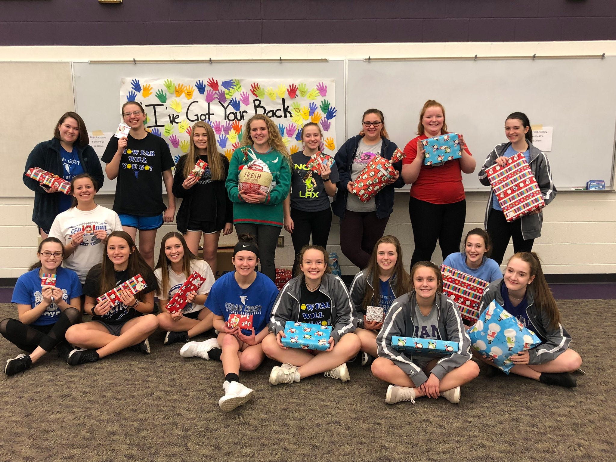 The Cedar Crest softball team was among several teams at Cedar Crest that participated in the Adopt-a-Family program.