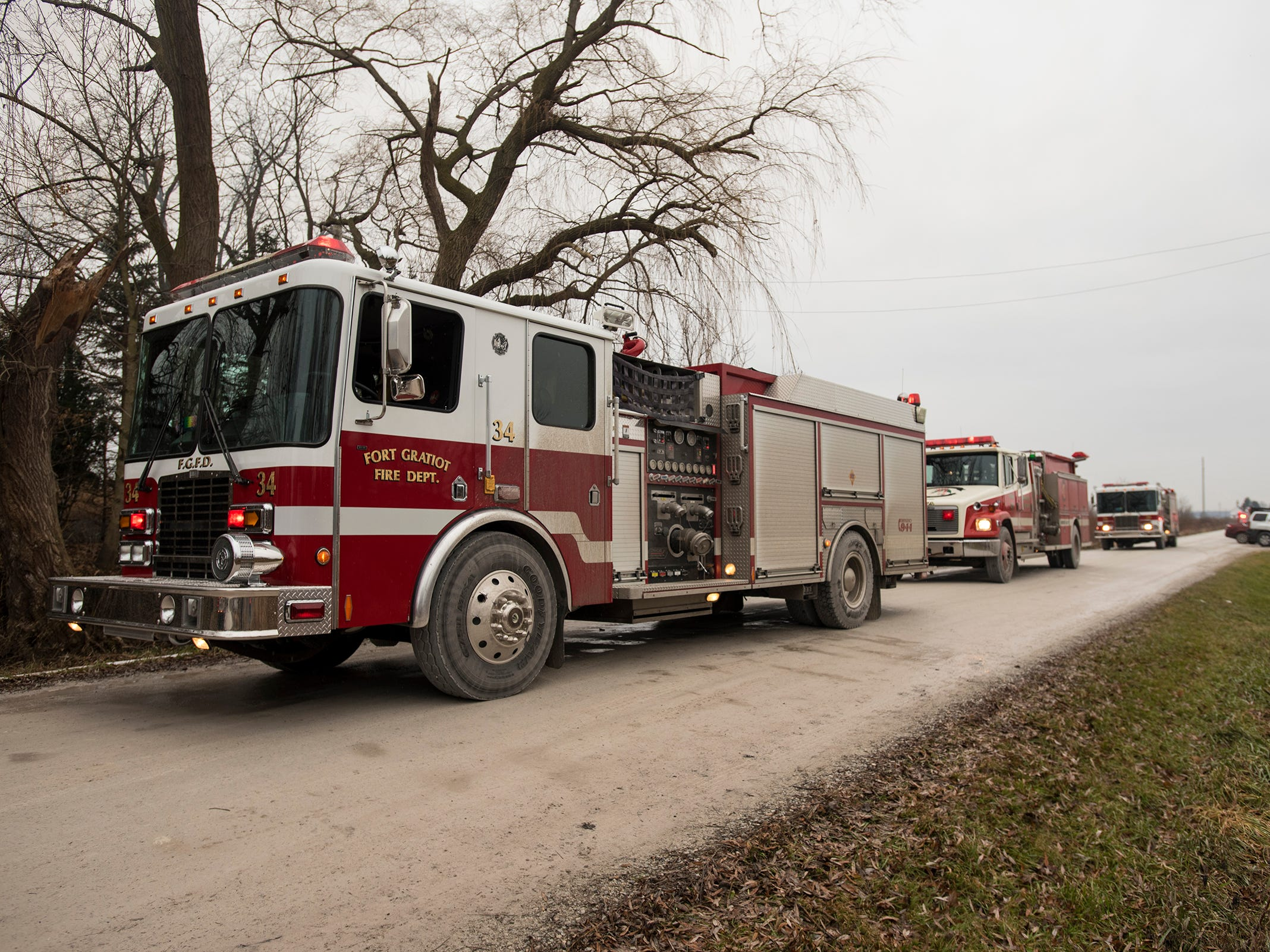 Firefighters work at the scene of a fire in the 3700 block of Brace Road in Fort Gratiot Thursday, Dec. 20, 2018. Firefighters received the call shortly before 1 p.m. The house was abandoned and the cause is under investigation.