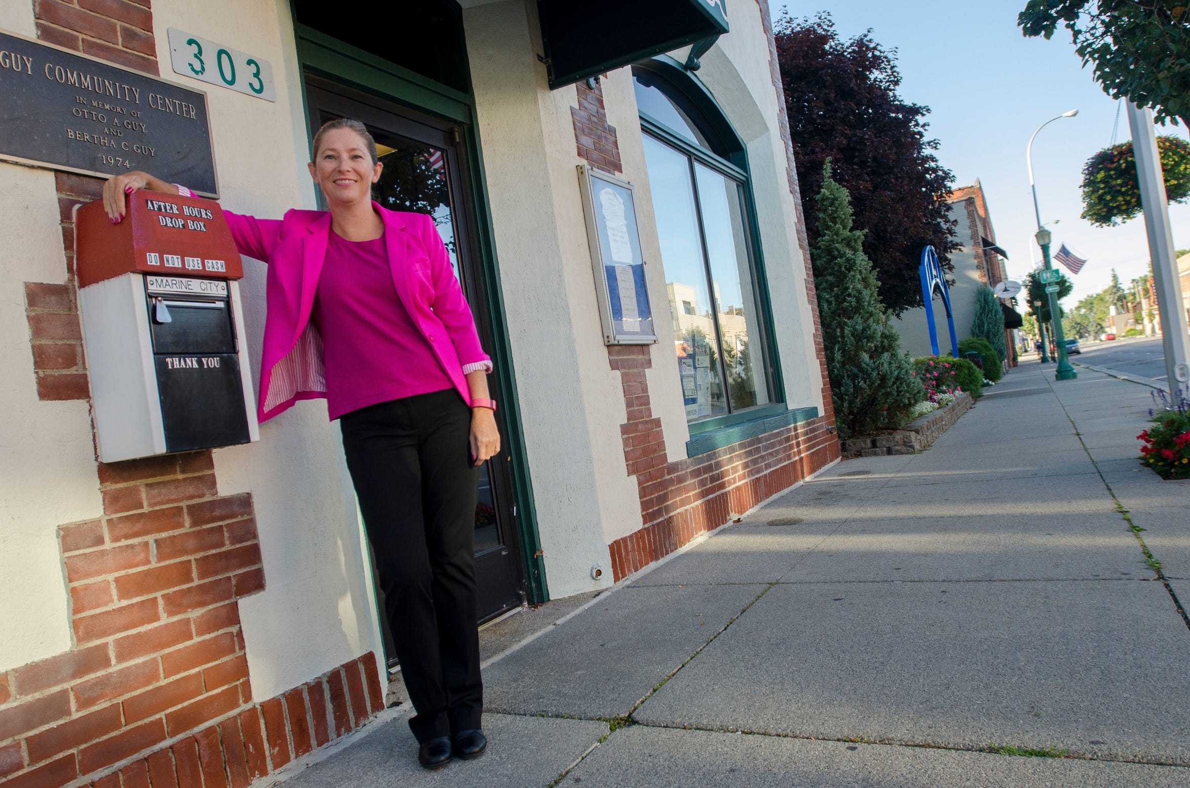 City Manager Elaine Leven stands outside the Guy Center in Marine City in September 2016. Among the handful of managers in the Thumb who don't reside in their community's borders, she began the job in 2015 and lives nearby in Clay Township.