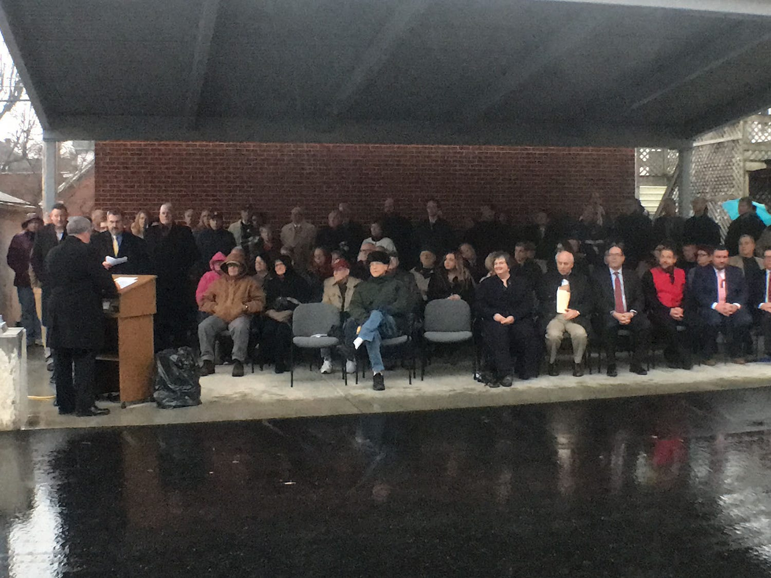 A crowd gathers for a ribboncutting ceremony held Thursday, December 20, 2018 at Chambersburg Borough Hall new addition.