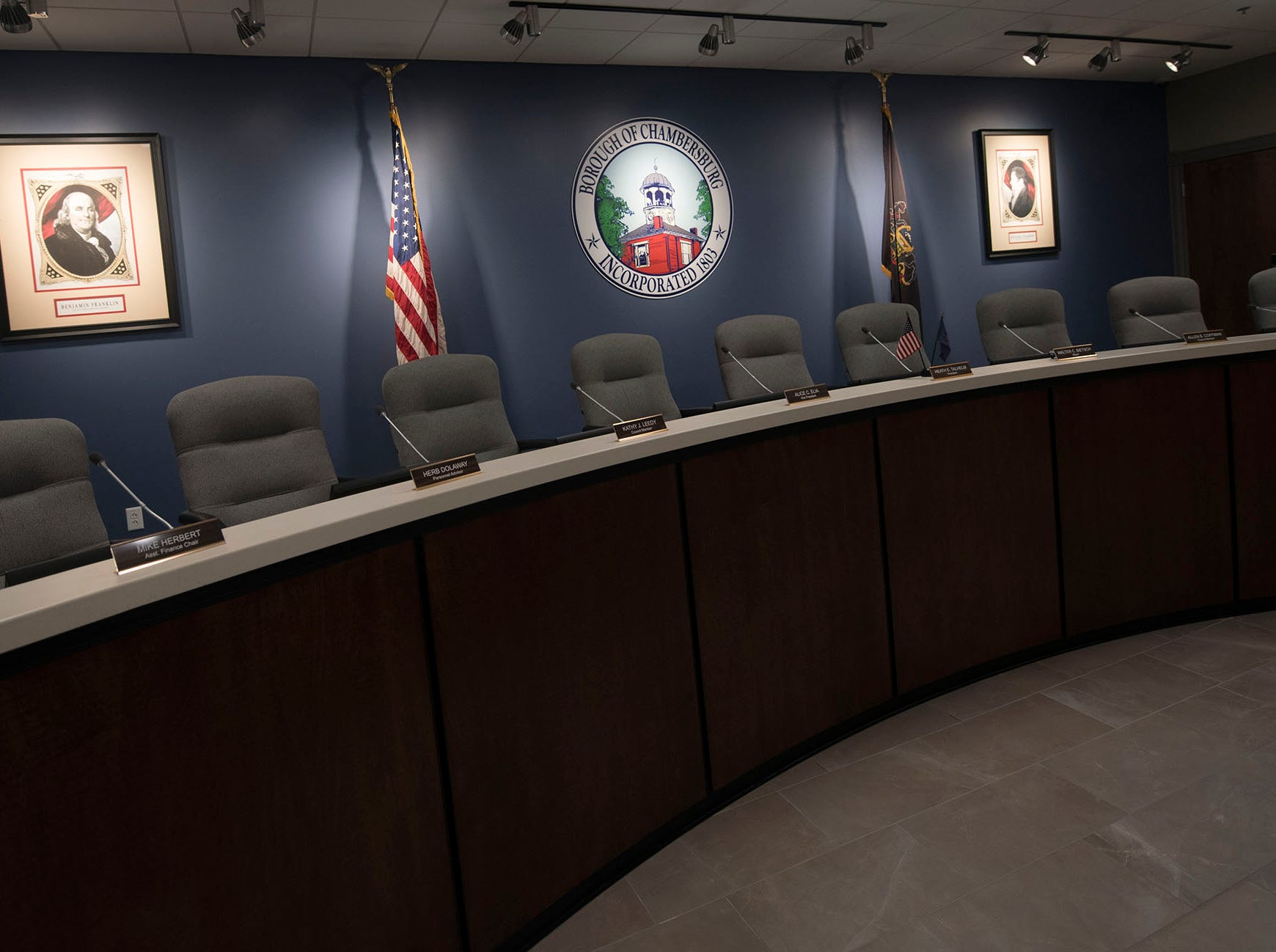 The new Chambersburg Borough Council Chambers is pictured  after a ribboncutting ceremony on Thursday, December 20, 2018.