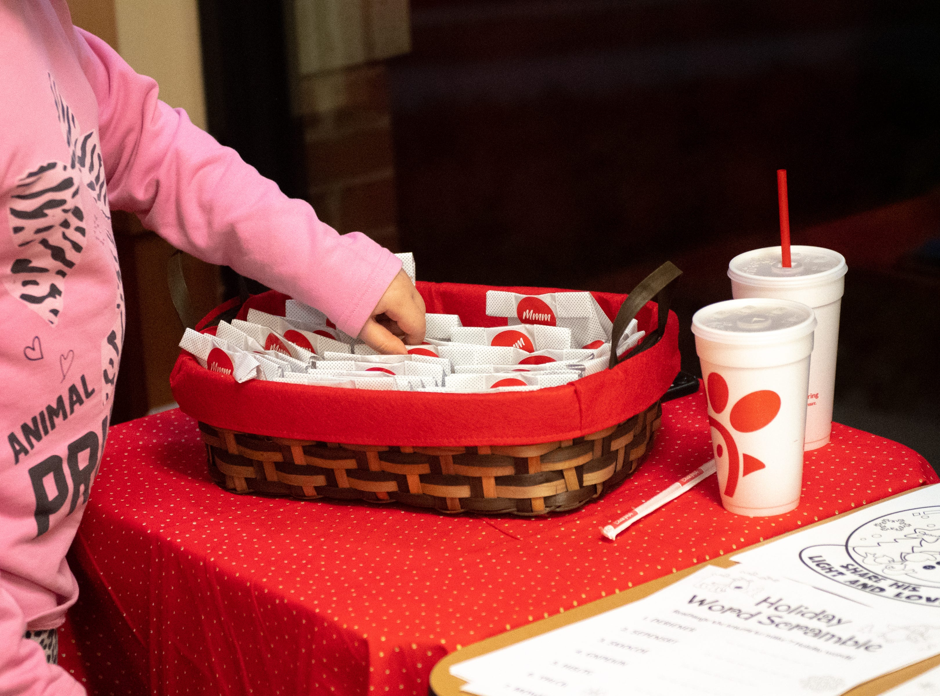 Chick-fil-A provided hundreds of cookies to give to anyone that sits on Santa's lap, December 19, 2018.