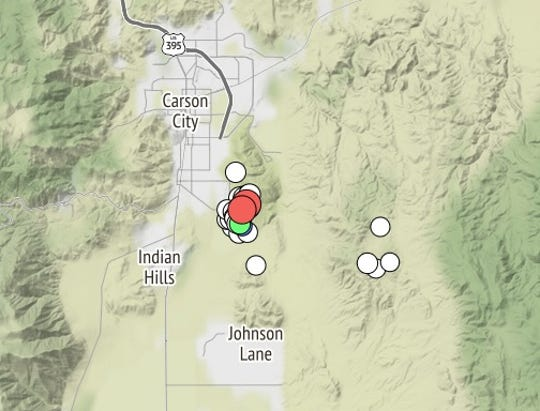 This image from the Nevada Seismological Laboratory shows the location of two earthquakes, magnitude 3.5 and 3.4, that struck southeast of Carton City on Thursday, Dec. 20, 2018.