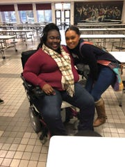 Allison Washington-Lacey poses with Audrey Moore during a SHEroes conference at Richmond High School.