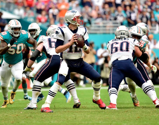New England Patriots quarterback Tom Brady against the Miami Dolphins.