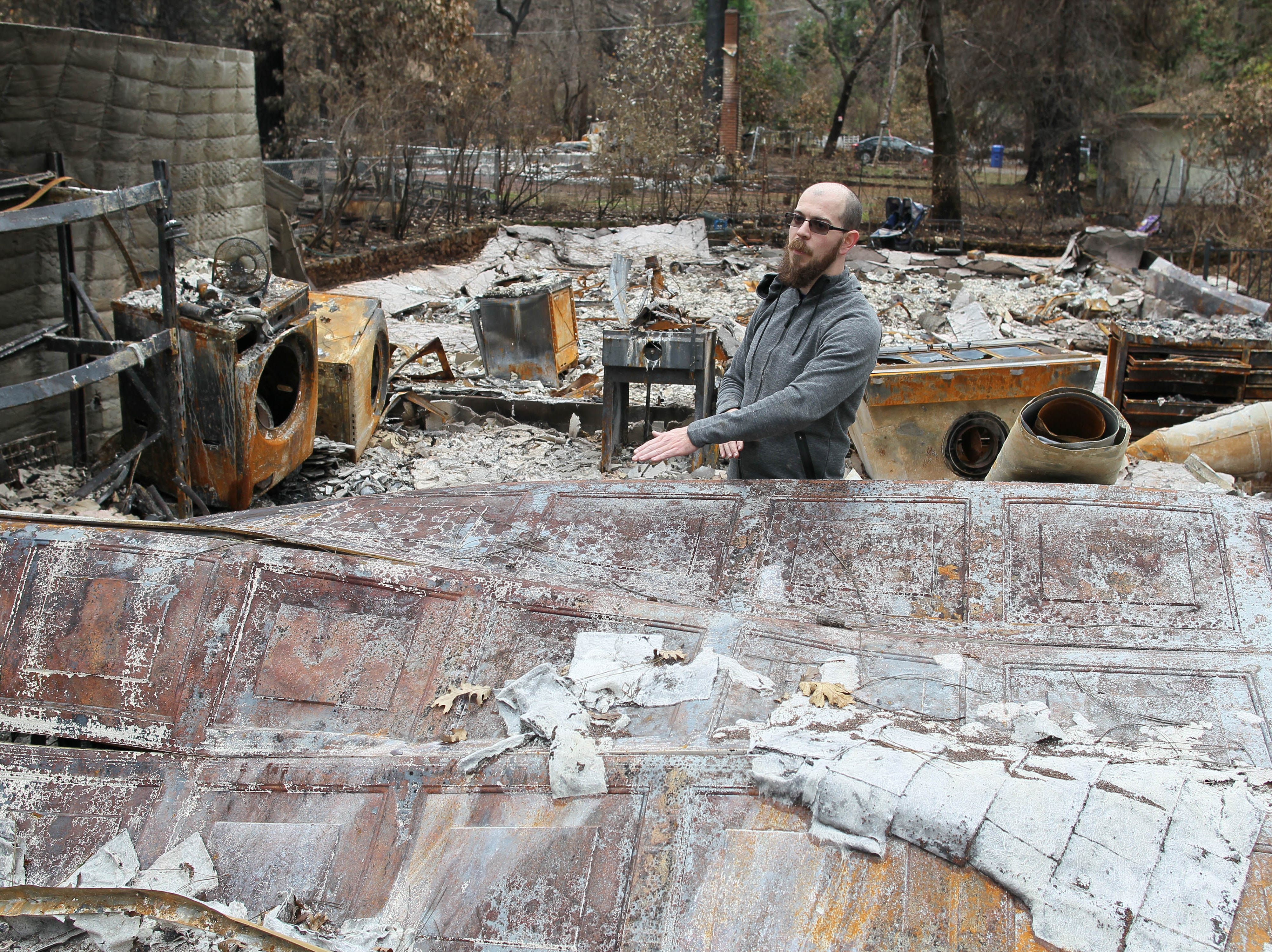 Tuesday: Jared Wilson returns to the remains of his burned Paradise home for the first time since the Camp Fire destroyed it.