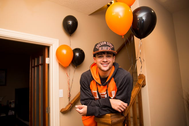 Anthony Gould at his home in West Salem on Wednesday, Dec. 19, 2018. Gould graduated early to join Oregon State's football team in January.