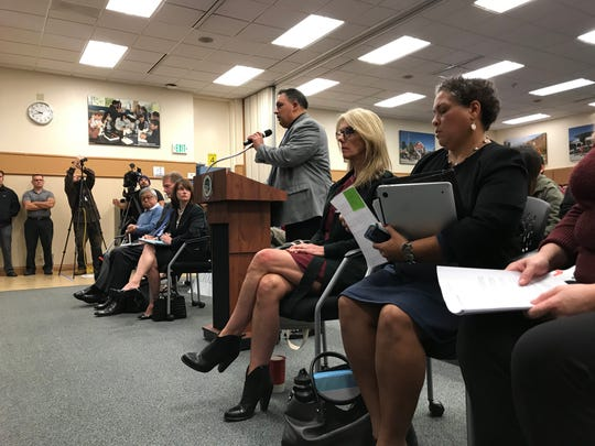 José Arreola , Millennium's board president, addresses the Monterey County board of education at Wednesday's special meeting.