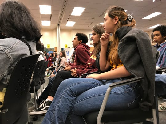 While on winter break, Millennium Charter High School students protested Wednesday's Monterey County board of education meeting regarding their school's future.
