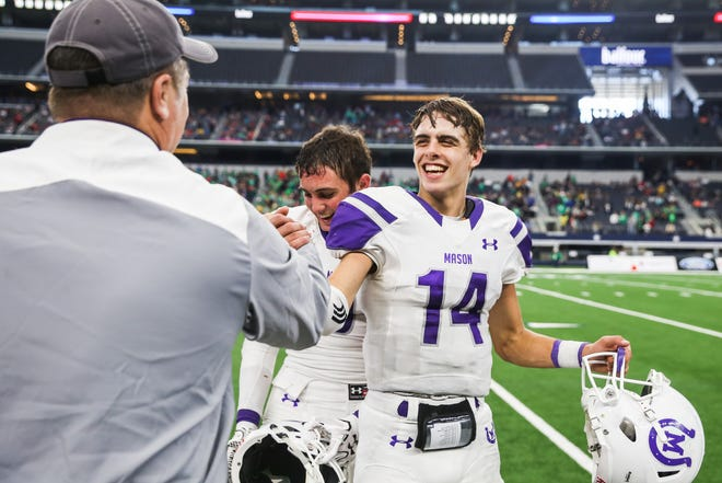 Mason's Otto Wofford celebrates the 44-6 win over New Deal in the Class 2A Division I state final Thursday, Dec. 20, at AT&T Stadium in Arlington.