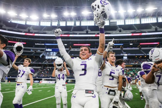 Mason players cheer as they win the state final against New Deal on Thursday, Dec. 20, 2018, at AT&T Stadium.