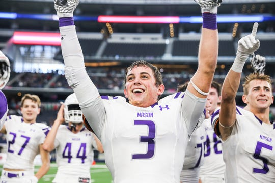 Rudy Rochat cheers after the Mason Punchers won the Class 2A Division I state title against New Deal on Thursday, Dec. 20, 2018, at AT&T Stadium in Arlington.
