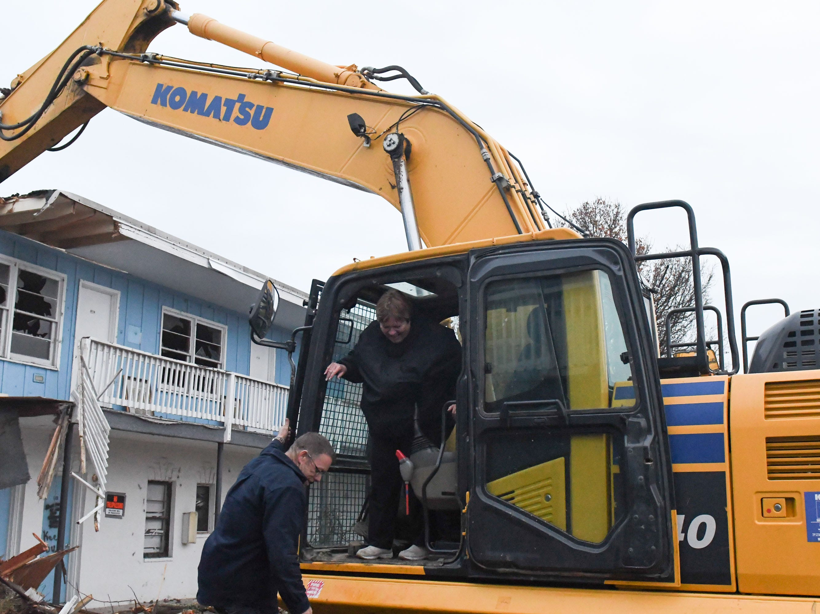 Former owner Susan Caldwell said good bye to the Sands Motel located in Fenwick Island, Del. on Thursday, Dec. 20, 2018. She got the opportunity to help start the demolition.