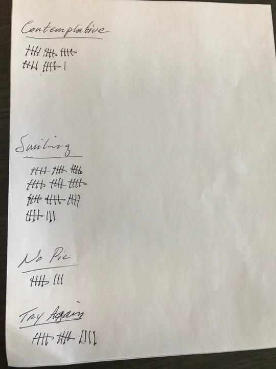 """30-Second Read"" headshot vote tally sheet"