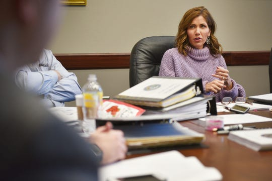 Gov.-elect Kristi Noem sits down for a meeting at the South Dakota State Capitol on Wednesday, Dec. 13, in Pierre.