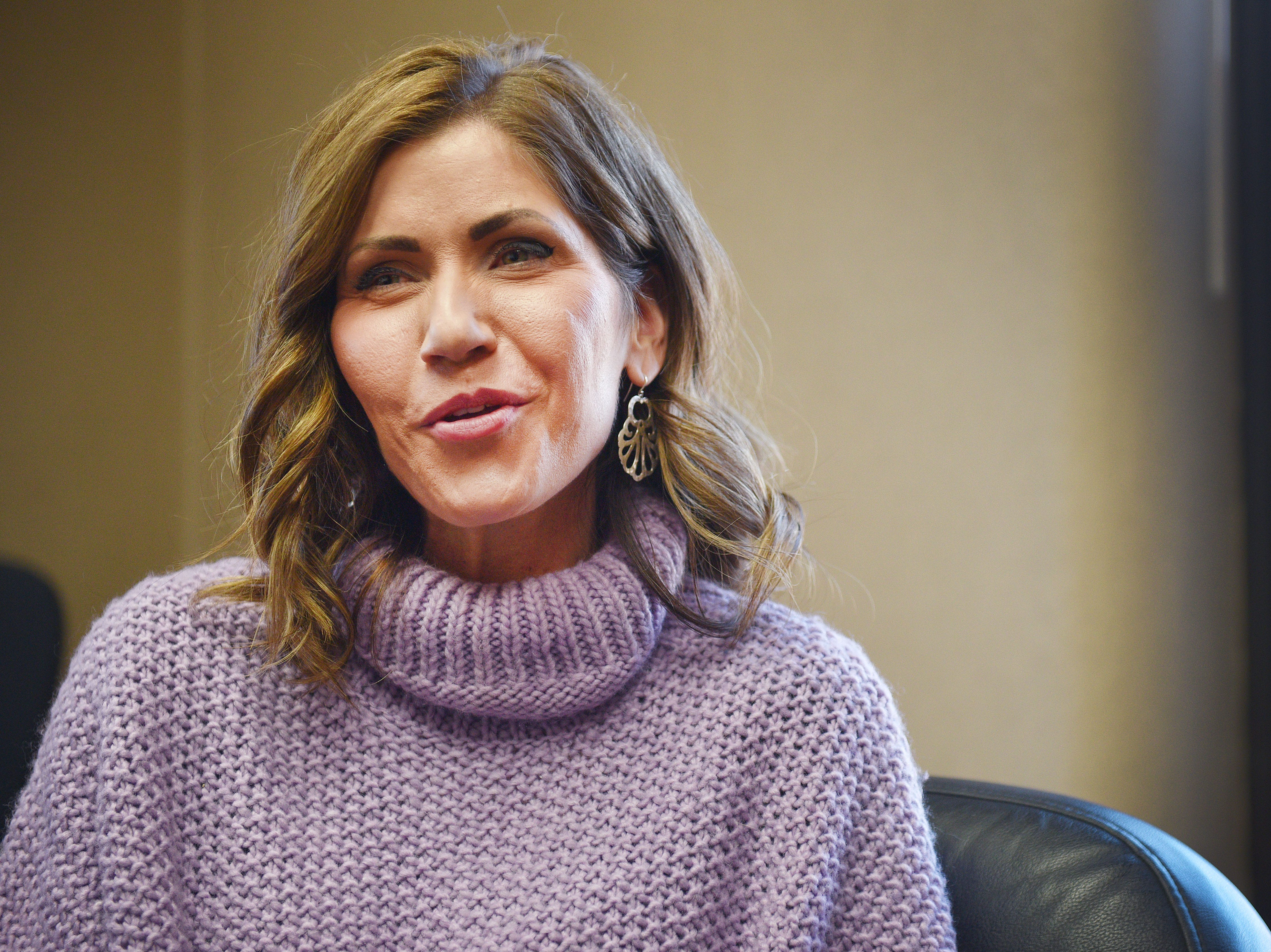 Gov.-elect Kristi Noem talks about her plans for her term as governor Wednesday, Dec. 19, at the South Dakota State Capitol in Pierre.