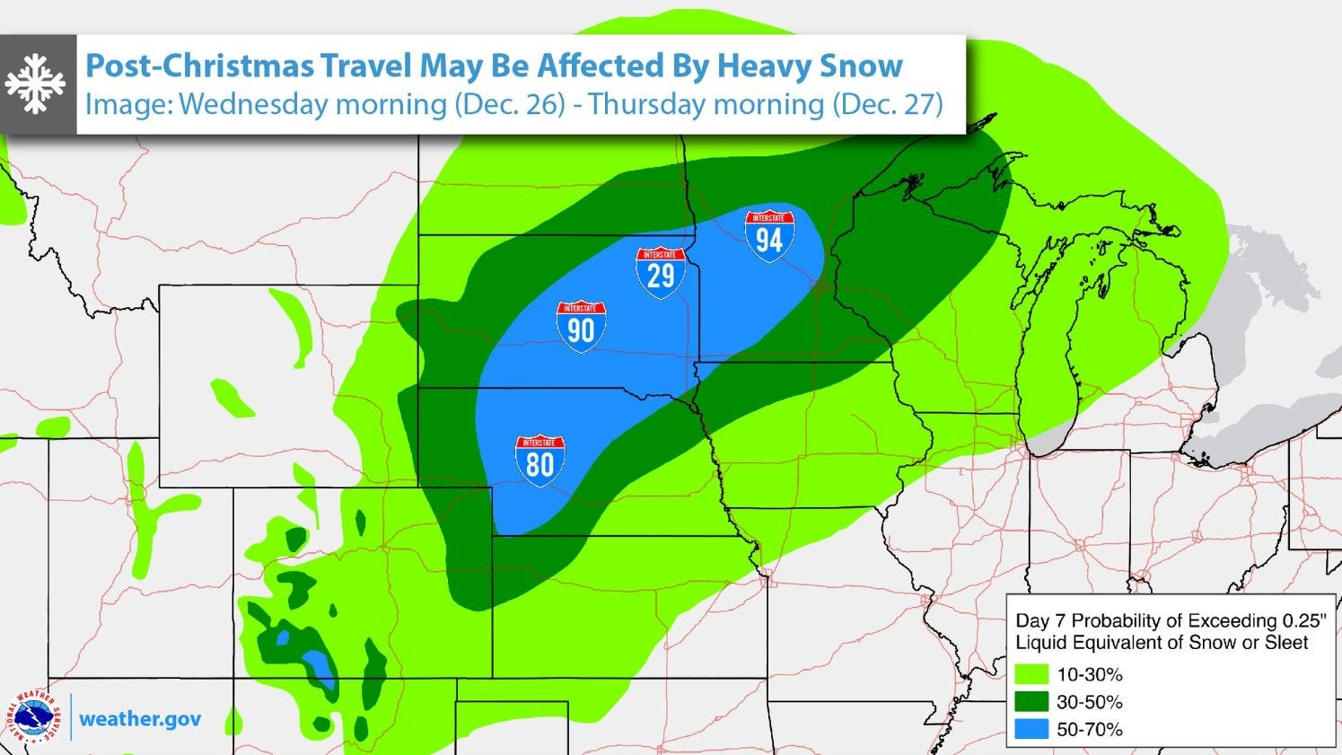 Interstate Travel Weather Map.Nws Post Christmas Storm Could Affect Travel Plans In Midwest