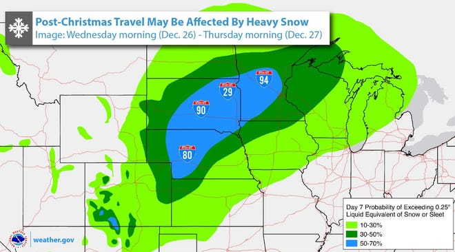 A large swath of South Dakota could see heavy snow in the days after Christmas, the National Weather Service says, although a lot could change between now and then.