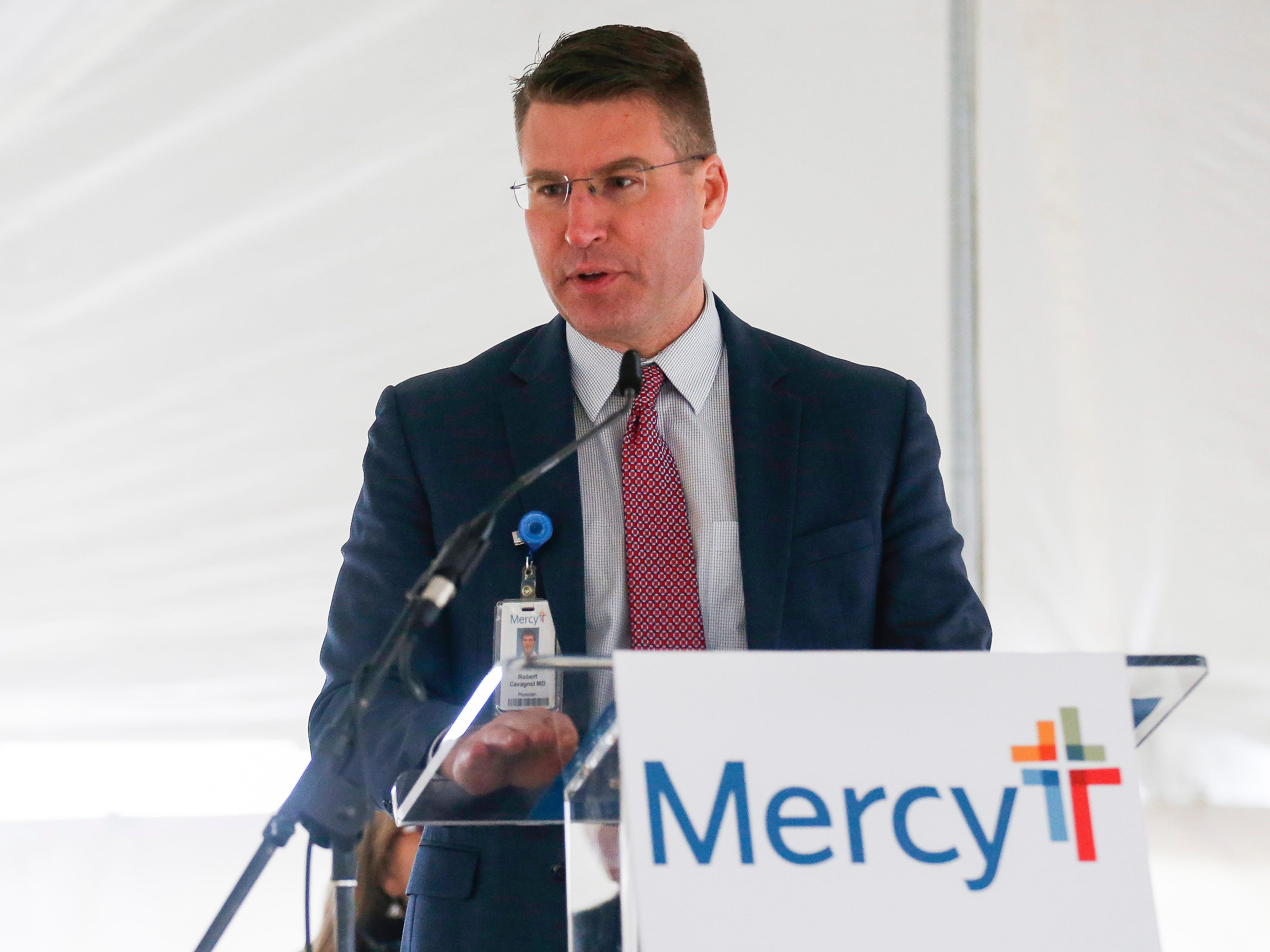 Dr. Robert Cavagnol, Mercy Clinic President, speaks during the groundbreaking and blessing for the new Mercy clinic which will be located at Republic Road and Scenic Avenue.