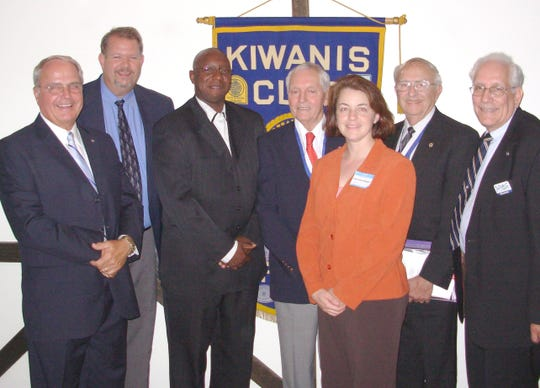 DeWayne Moore, third from left, after his installation as vice president of the Kiwanis Club of Waynesboro in September 2006. Moore is now assistant principal at Robert E. Lee High school in Staunton.