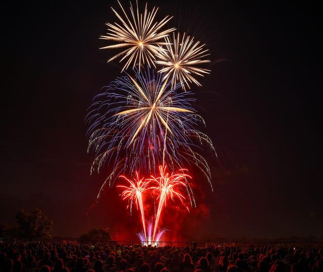Fireworks over Hester Park Wednesday, July 4, 2018 in St. Cloud.
