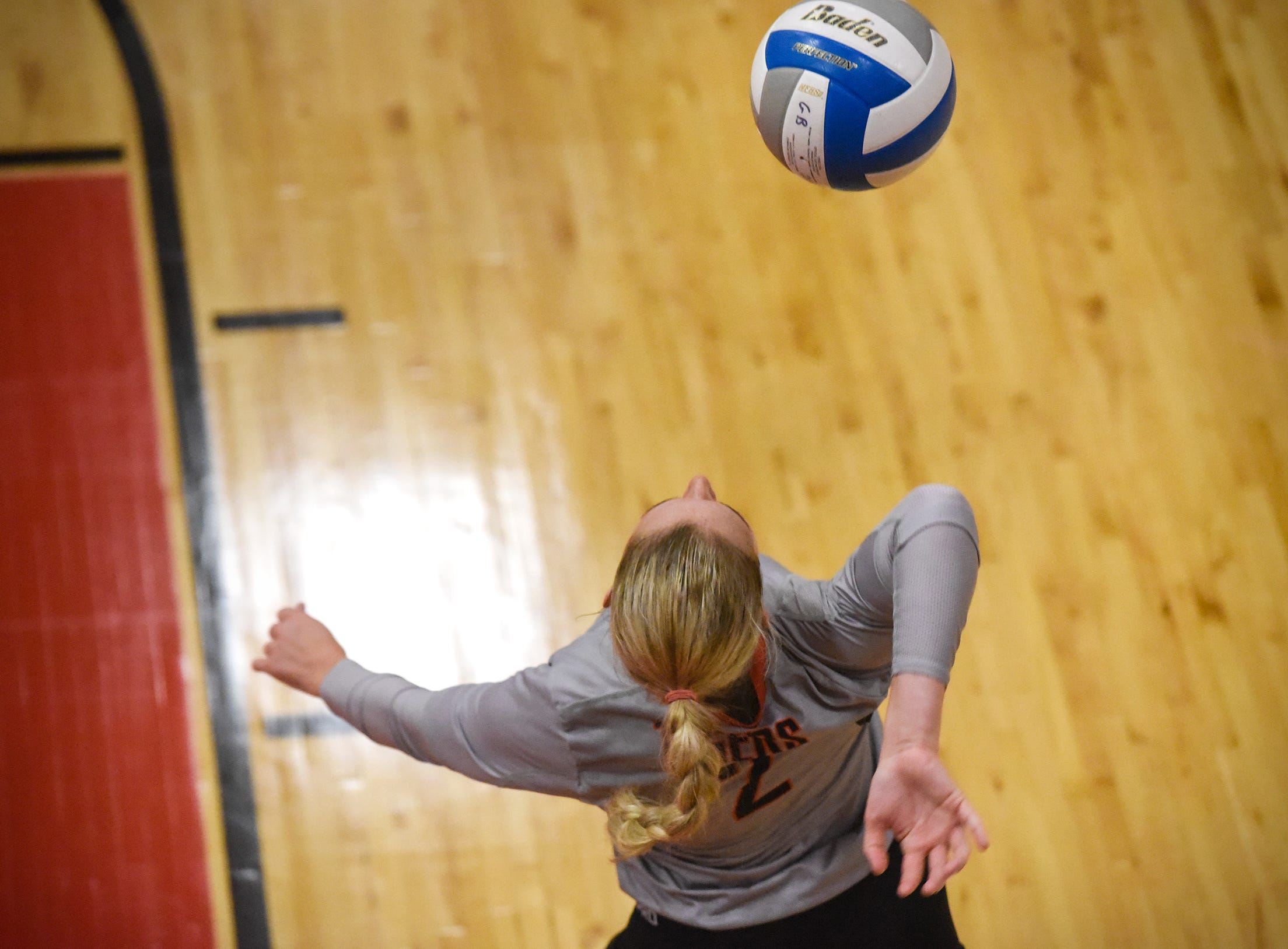 Tech's Sydney Poepping serves during the Tuesday, Sept. 4, game at ROCORI High School in Cold Spring.