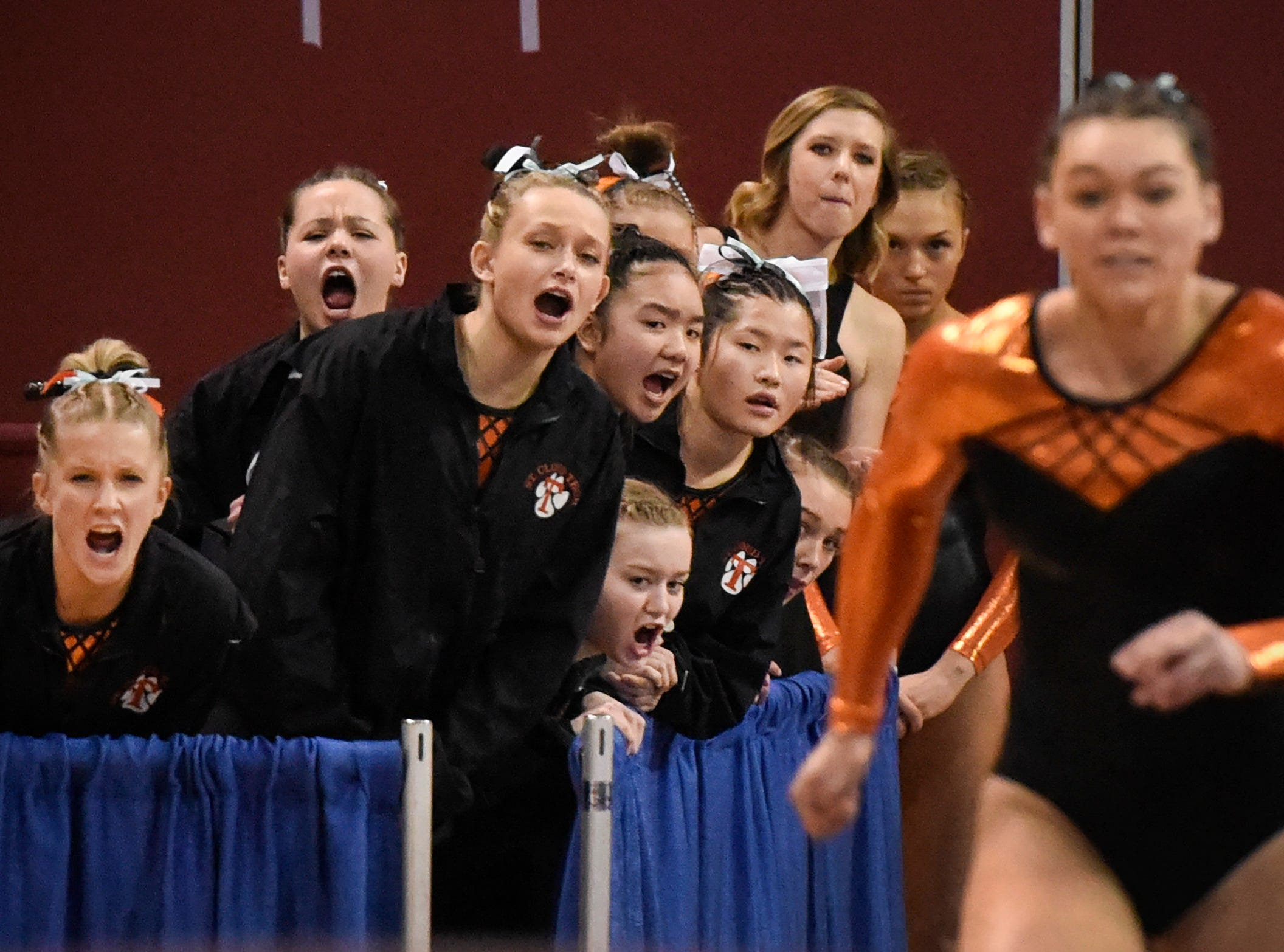 Tech gymnasts cheer for Taylor Terfehr competing on the vault during the team Class AA championships Friday, Feb. 23, at the Maturi Pavilion in Minneapolis.