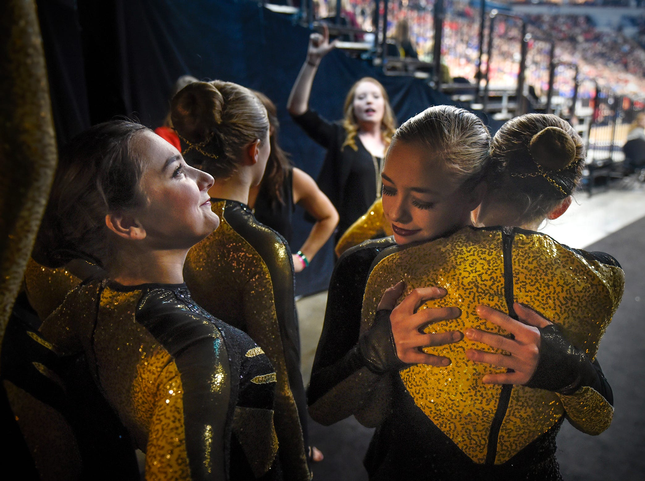 Local dancers prepare to take their turn during Minnesota State Dance Team High Kick competition Saturday, Feb. 17, at the Target Center in Minneapolis.