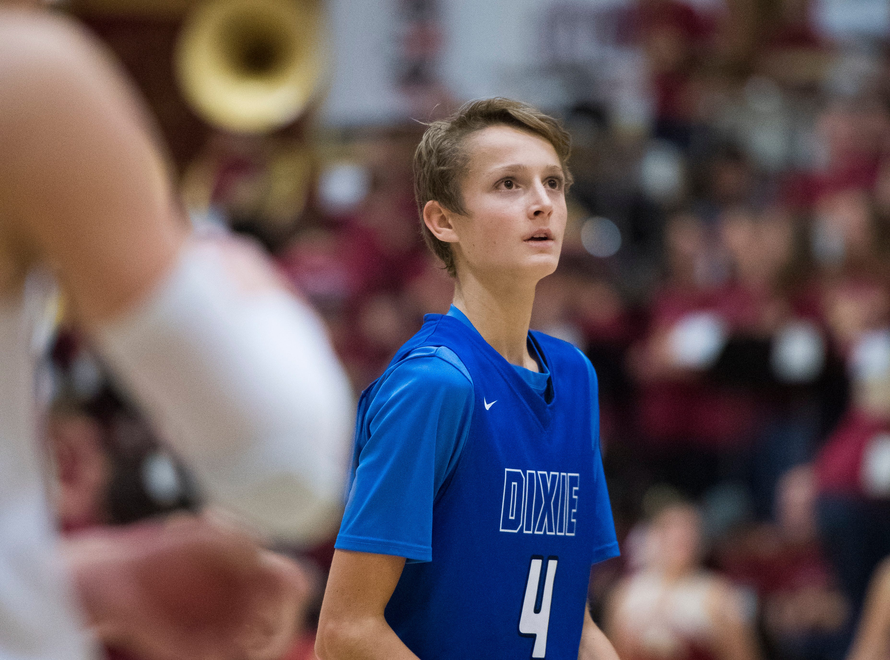 Dixie High School sophomore Isaac Finlinson (4) sinks a free-throw against Cedar High School at CHS Wednesday, December 19, 2018. Trading the lead all game, Dixie won, 49-45.