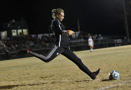Leon goalie Regan Hermeling kicks a goal kick as the Lions beat Lincoln 2-1 on Monday, Dec. 17, 2018.