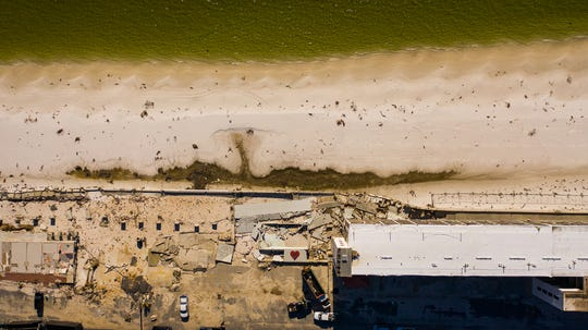 The El Governor Motel in Mexico Beach from the air after Hurricane Michael.