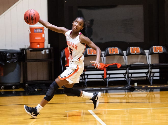 Lincoln Park Academy's Leroyeisha Thomas, who was named TCPalm's All-Area Girls Basketball Player of the Year, was selected to the FABC Class 6A first-team.