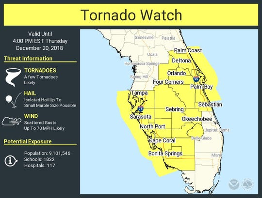 A tornado watch was issued for Central Florida Thursday, and will last until 4 p.m.